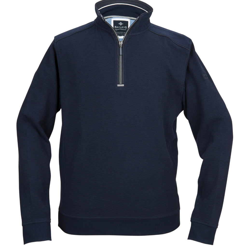 Baileys 1/4 Zip Navy Sweater - Bernard Owens