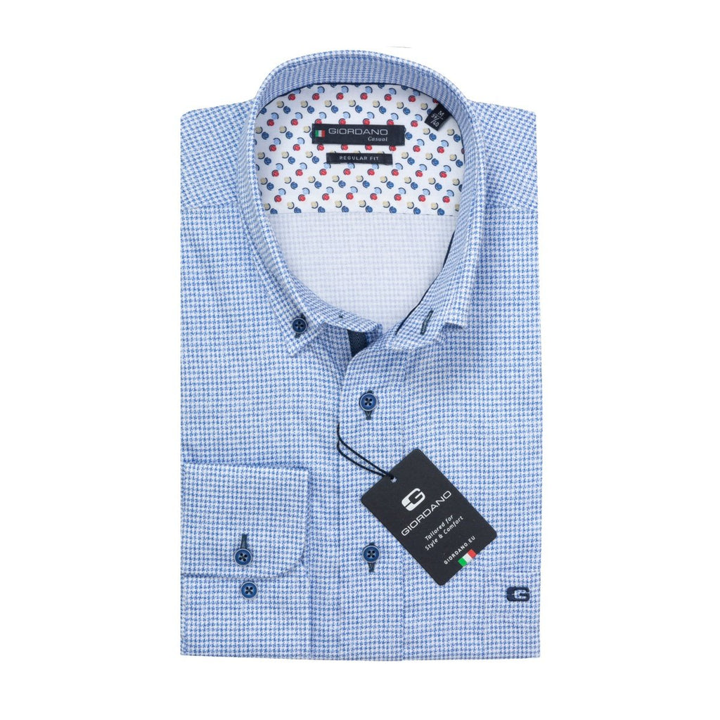 Giordano Regular Fit Houndstooth Pattern Shirt - Bernard Owens