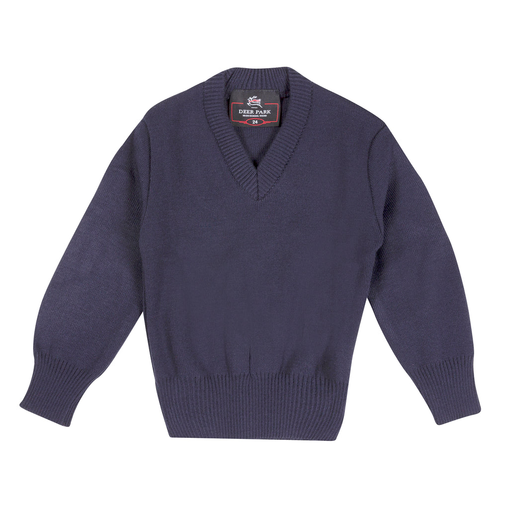St Thomas' Plain Navy V-Neck Jumper - Bernard Owens