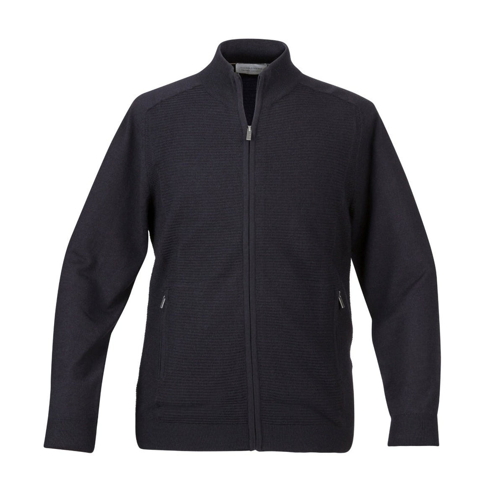 Thomas Maine Full Zip Ribbed Navy Cardigan - Bernard Owens