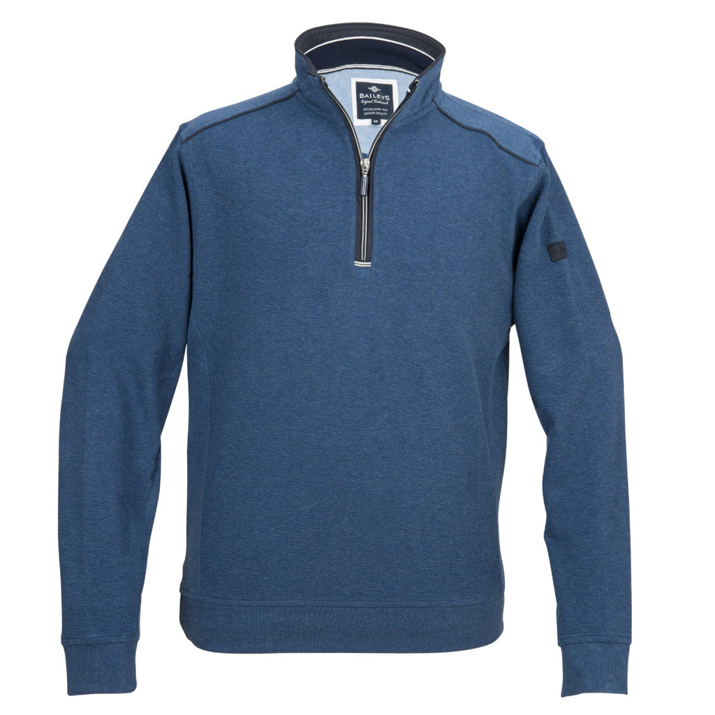 Baileys 1/4 Zip Blue Sweater - Bernard Owens