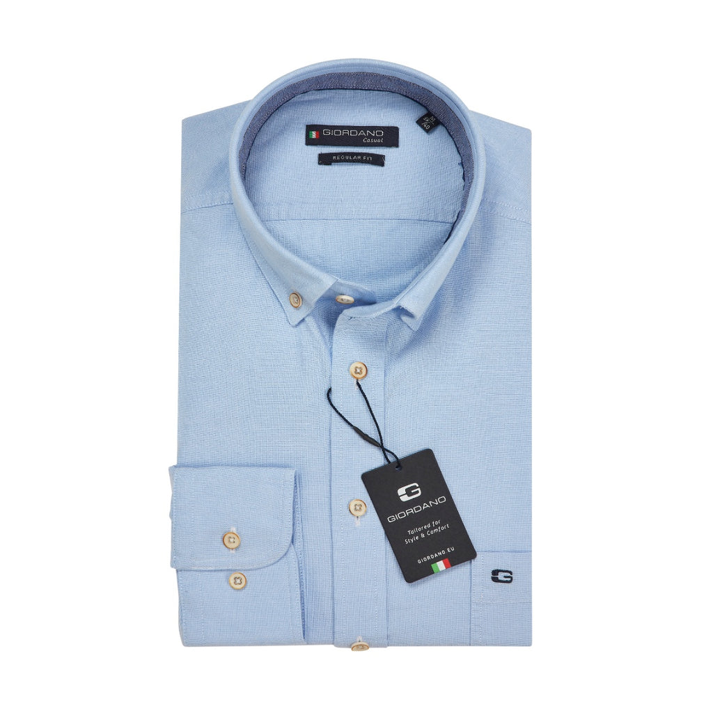 Giordano Regular Fit Blue Oxford Shirt - Bernard Owens