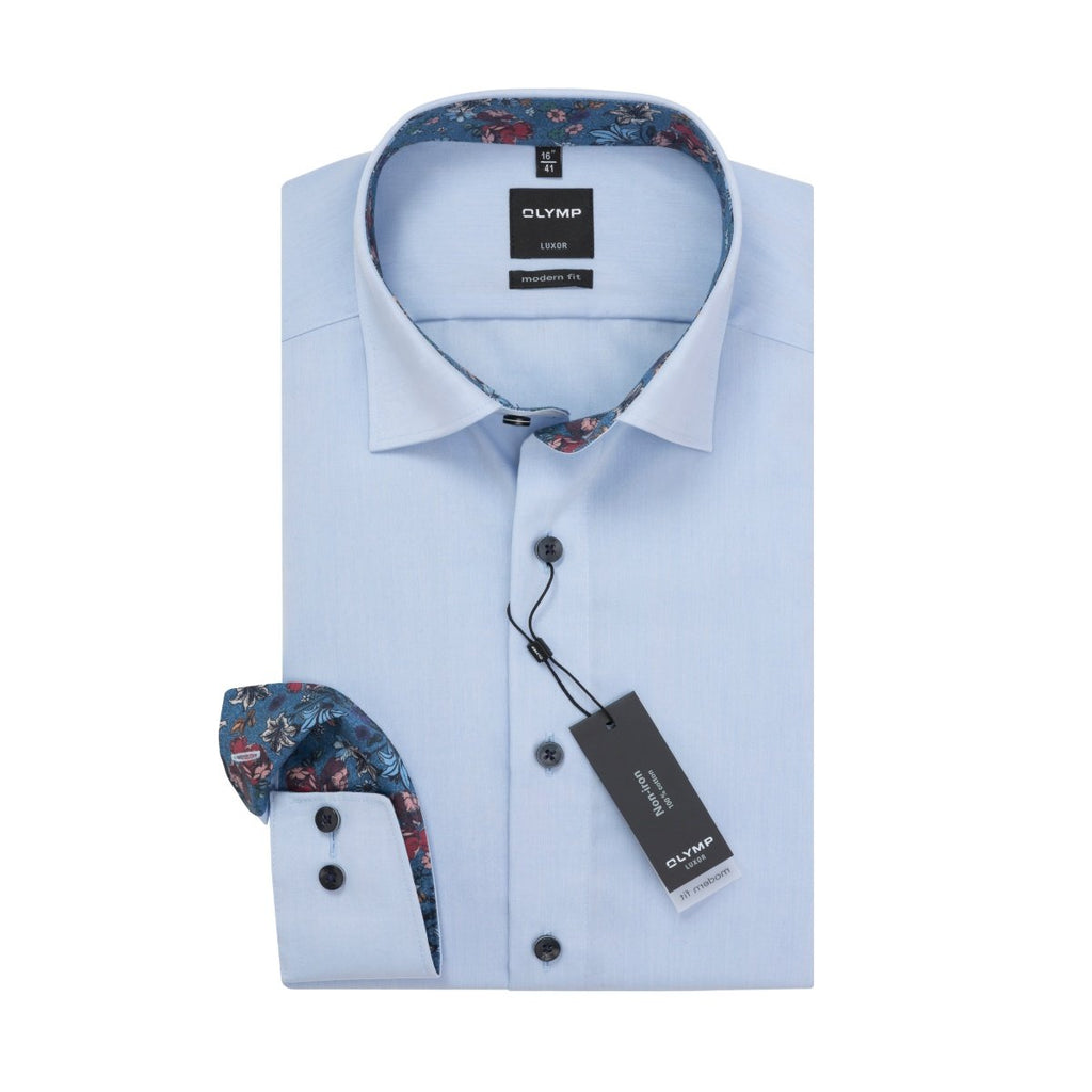 Olymp Modern Fit Shirt in Blue - Bernard Owens