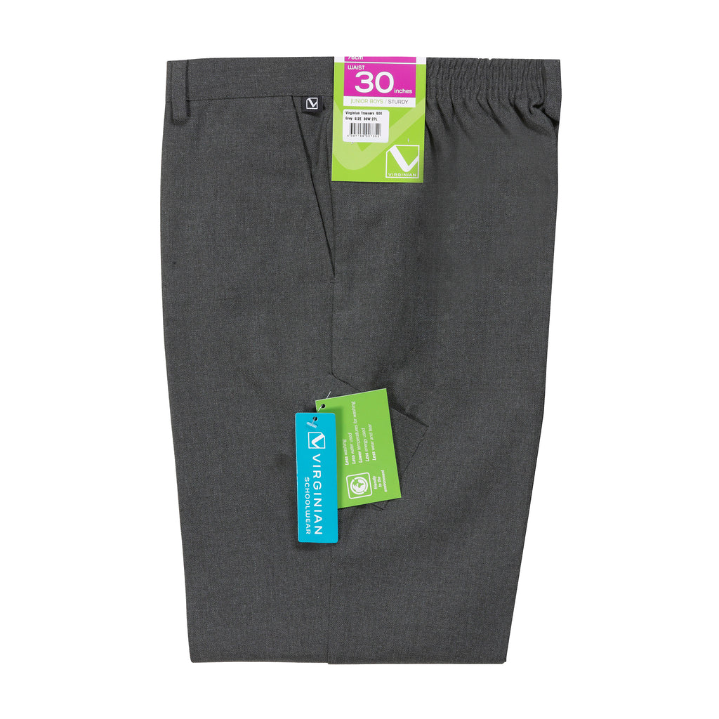 Virginian Sturdy Fit Grey Boys Trousers - Bernard Owens