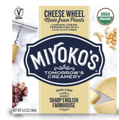 Miyoko's Creamery Sharp Aged Farmhouse Style Semi-Firm Cheese Plant-Based Dairy Plant-Based Dairy