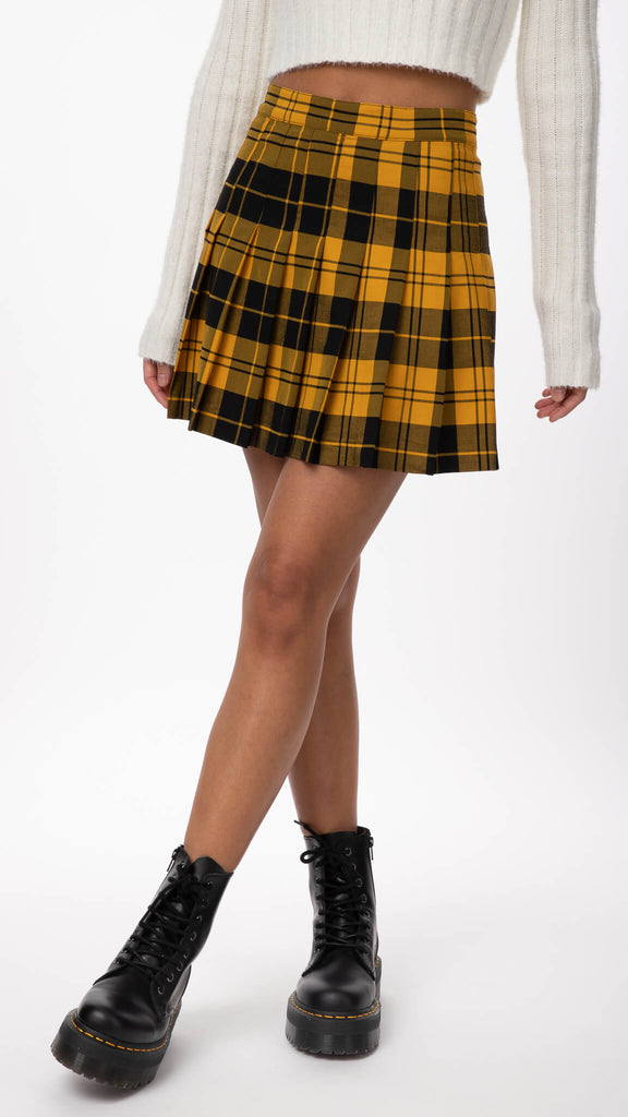Editorial - Mustard Editorial Plaid Skirt | Clothing - Bottoms - Skirts
