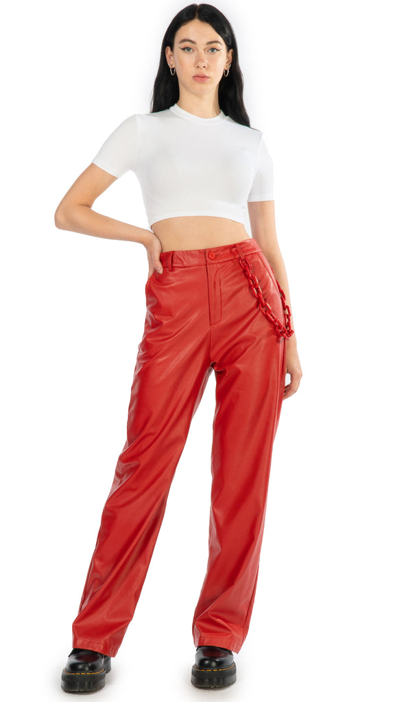 Daisy Street - PU Pant Red Chain | Clothing - Bottoms - Pants