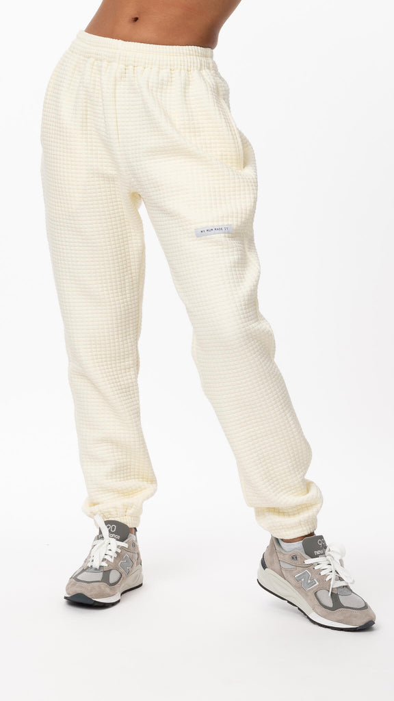 My Mum Made It - Cream Quilted Sweatpant | Clothing - Bottoms - Joggers