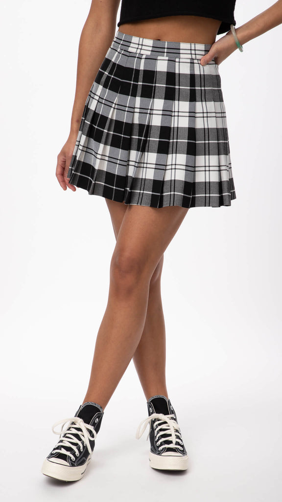 Editorial - Black Editorial Plaid Skirt | Clothing - Bottoms - Skirts
