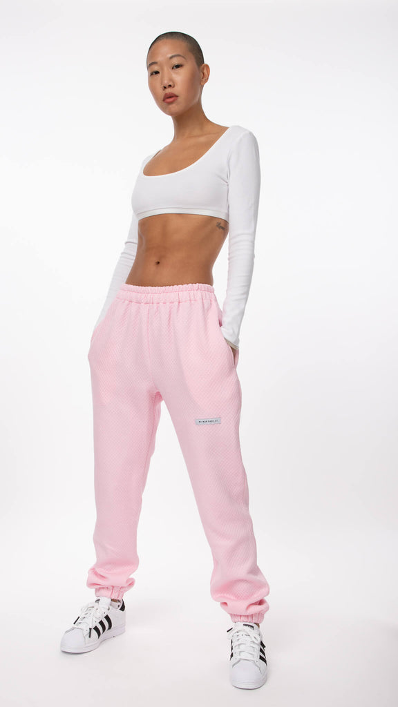 My Mum Made It - Pink Quilted Sweatpant | Clothing - Bottoms - Joggers