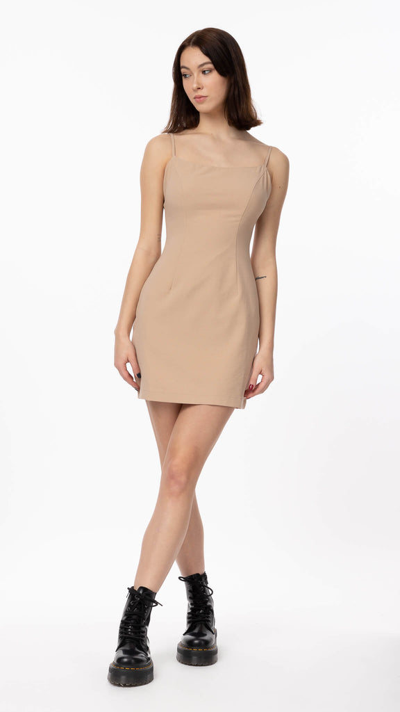 Sweet Dreams - Beige Slip Dress | Clothing - Dresses