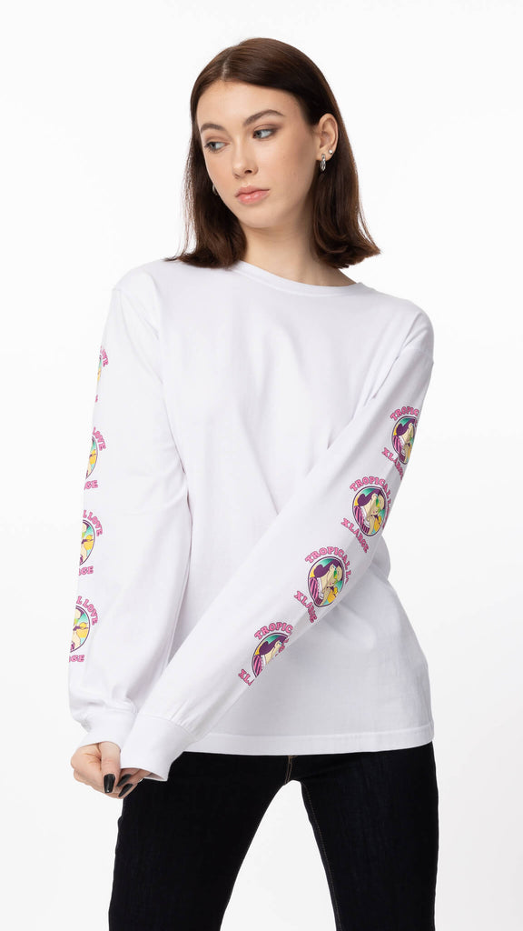 White Long Sleeve Tee Tropical