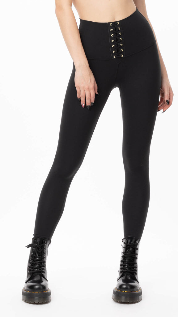 We Wore What - Jet Black Lace Up Legging | Clothing - Bottoms - Leggings