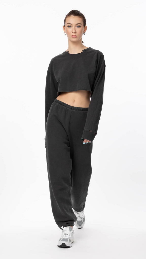 Joah Brown - Black Oversized Jogger | Clothing - Bottoms - Joggers