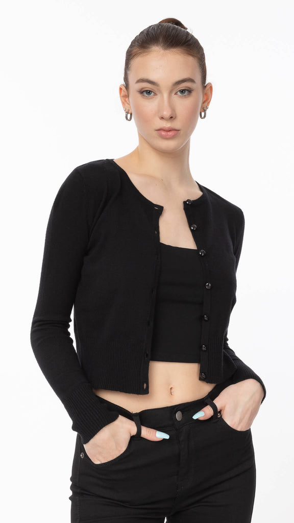 Mackenzie Lane - Black Tiff Cardigan | Clothing - Sweaters - Cardigans
