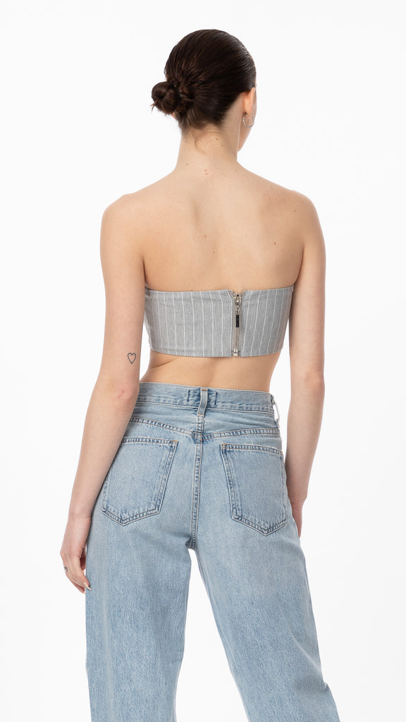 Grey Pinstripe Bandeau Top