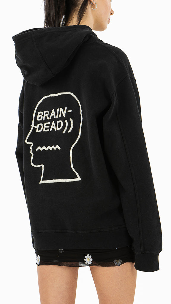 Brain Dead, Speed Text EMB. Hood, Clothing - Sweaters - Hoodies - Editorial Boutique