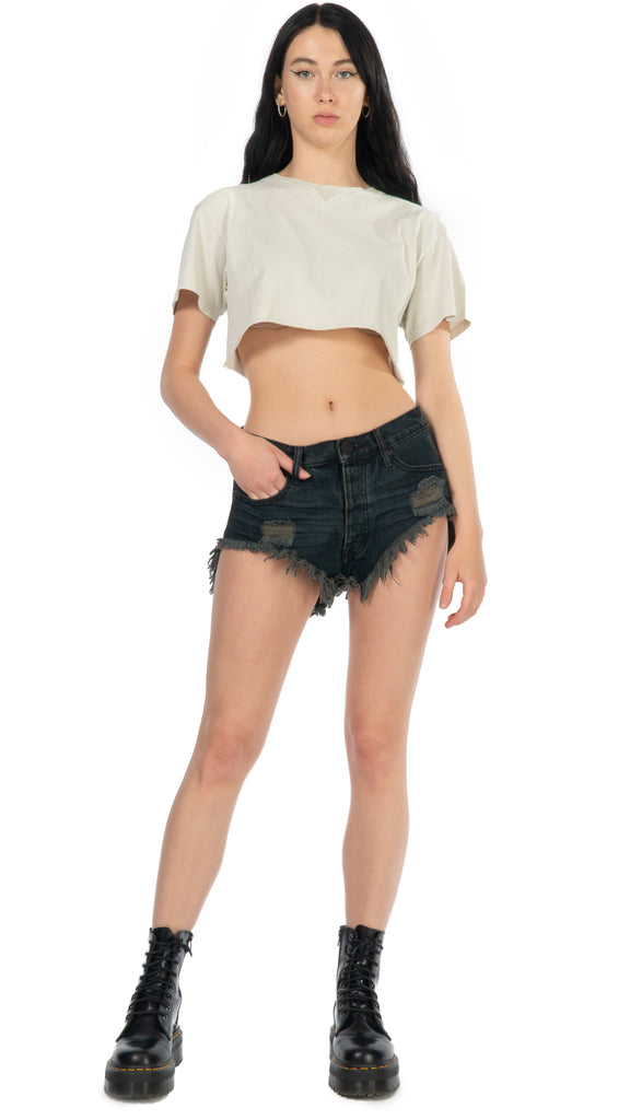 One Teaspoon, Bonitas Cutoff Black Fox Shorts, Clothing - Bottoms - Shorts - Editorial Boutique