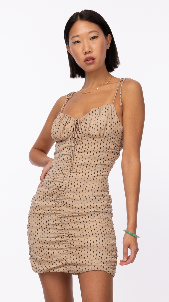 Sweet Dreams - Tan Polka Dot Dress | Clothing - Dresses