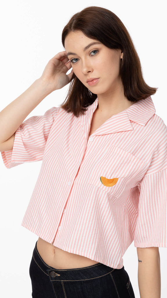 Daisy Street - Stripe Boxy Crop Shirt | Clothing - Tops - Cropped