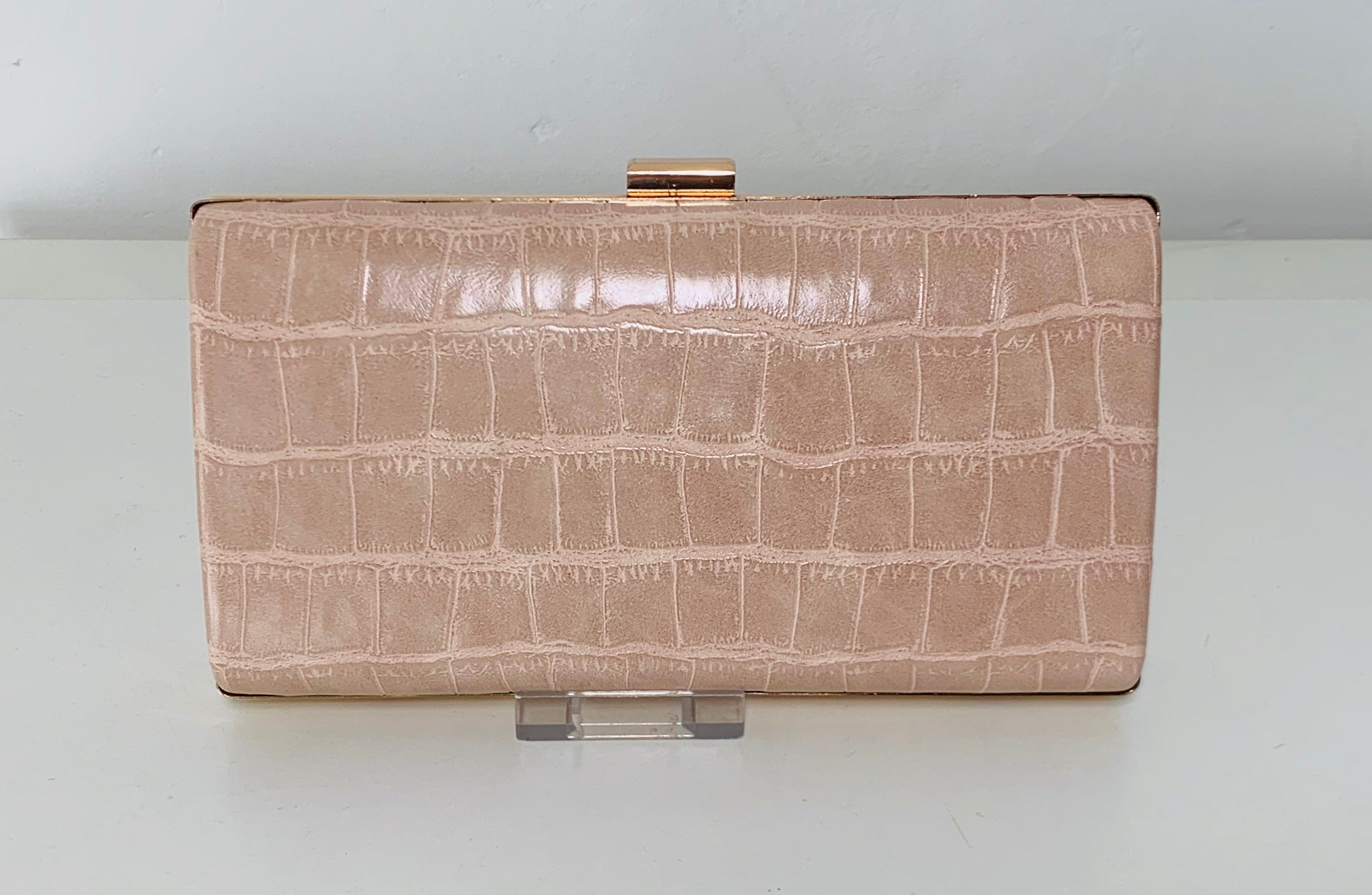 Pink textured evening bag