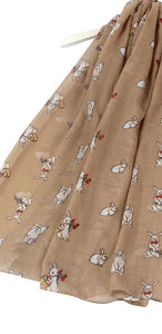 Countryside Easter Bunny Rabbit Printed Scarf
