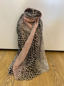 Pink and silver snake print scarf