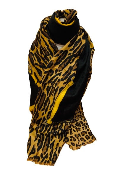Leopard and chains scarf