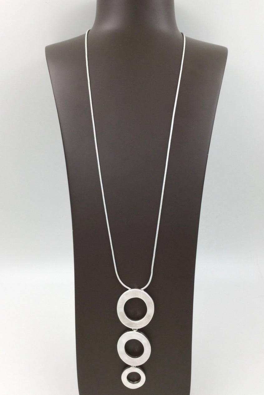 Long brushed silver necklace