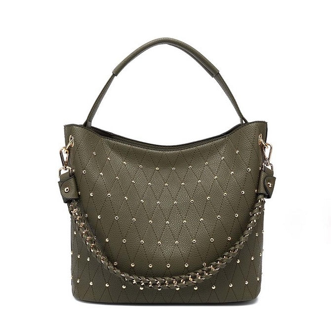 Green studded bag
