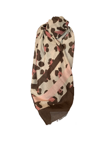 Pink and brown leopard print scarf