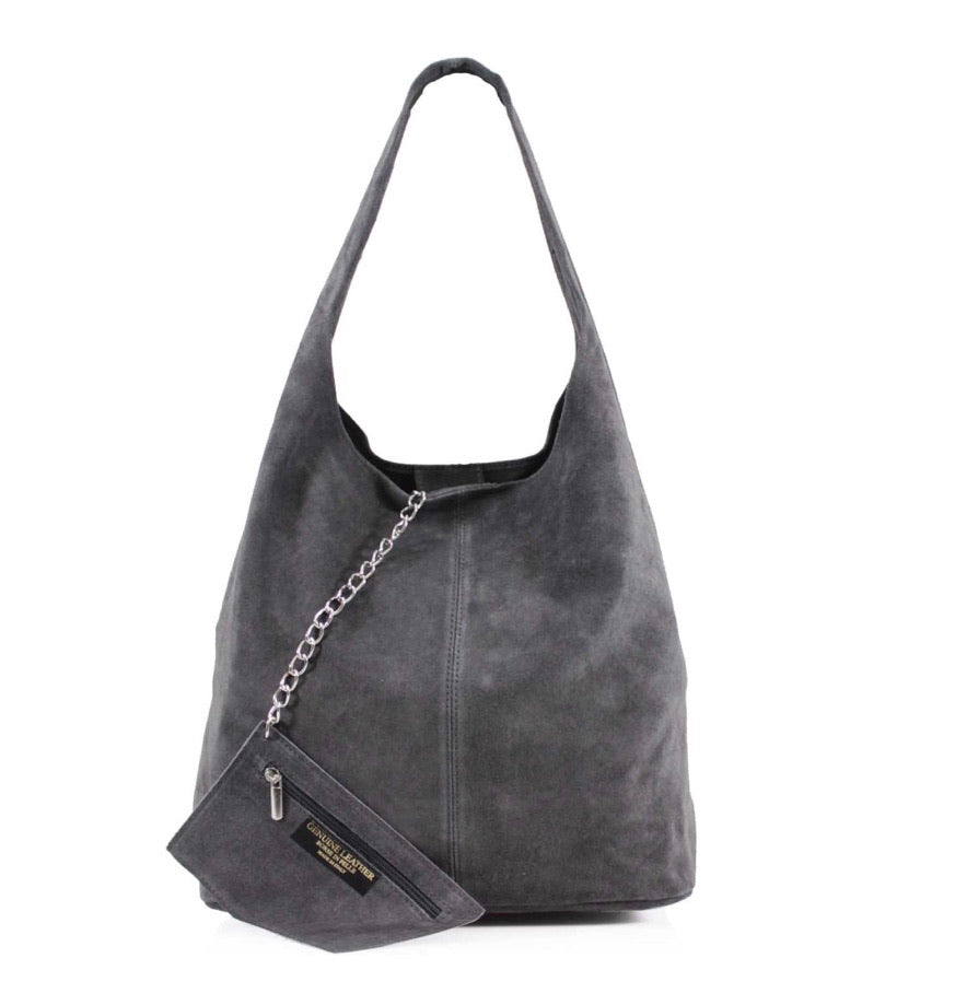 Suede leather slouch bag