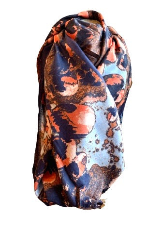 Peach and blue scarf