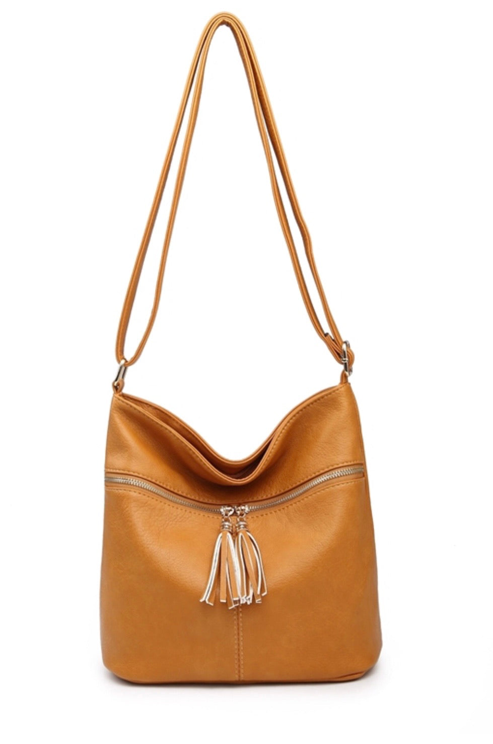 Tassel zipped shoulder bag