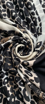 Load image into Gallery viewer, Leopard and Snake Print Scarf with Border and Frayed Edge