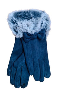 Faux fur bow gloves