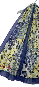 Leopard and Palm Leaf Print Scarf with Border
