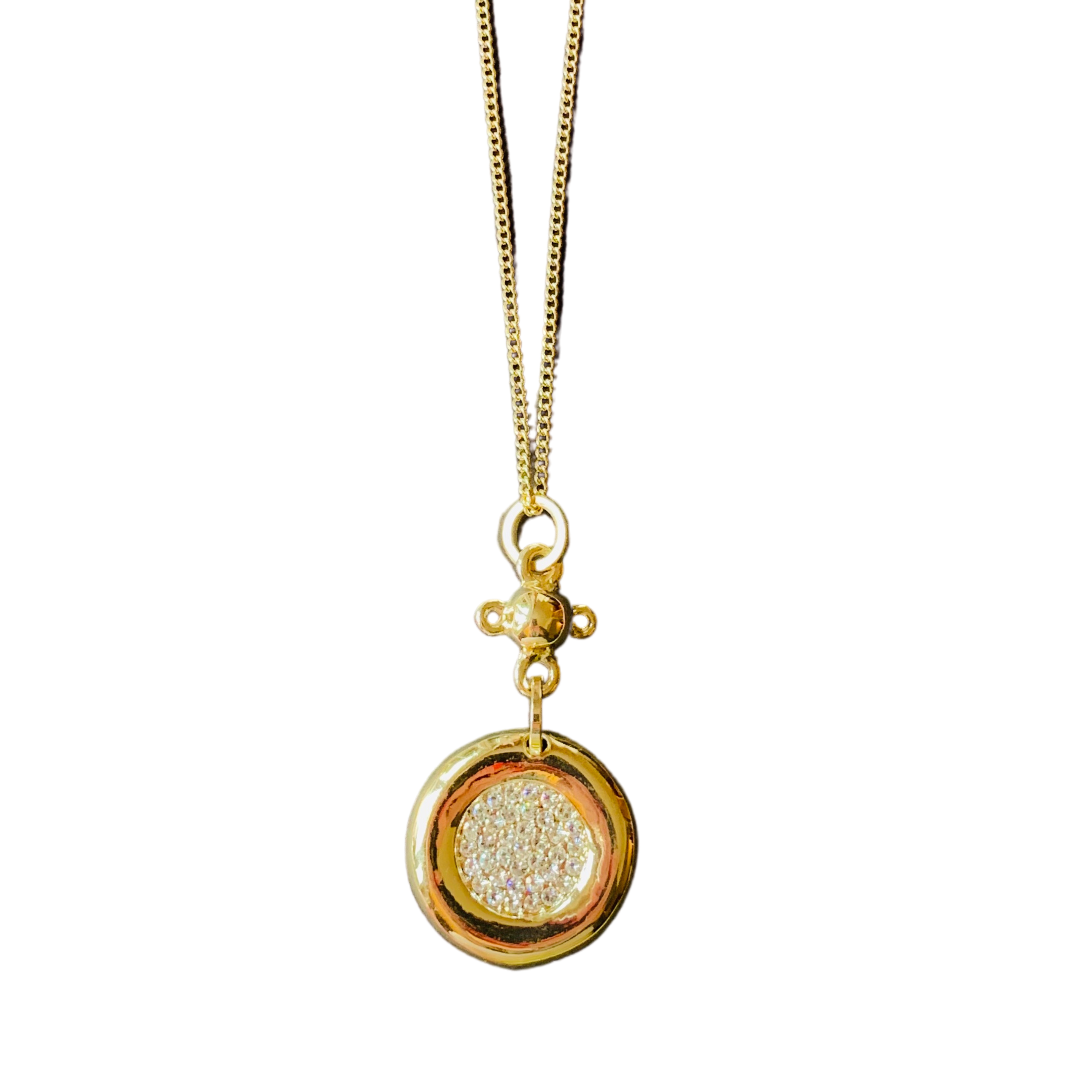 Glitter circle long necklace