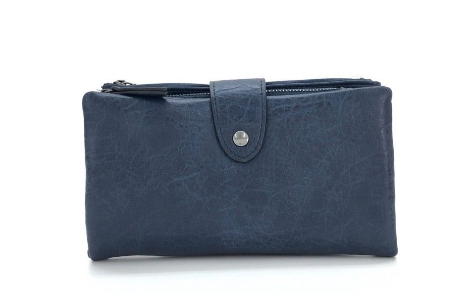 Large Bifold Soft Purse in navy blue