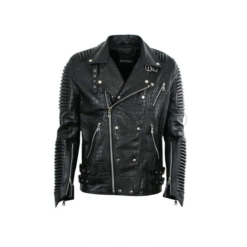 Leather Moto Jacket ( Black Reptile ) LEATHER JACKET