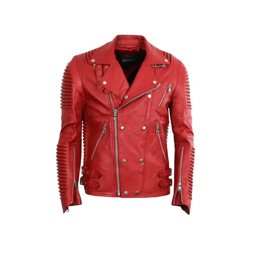Leather Moto Jacket ( Red ) LEATHER JACKET