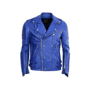 Leather Moto Jacket ( Royal ) - Leather Jacket