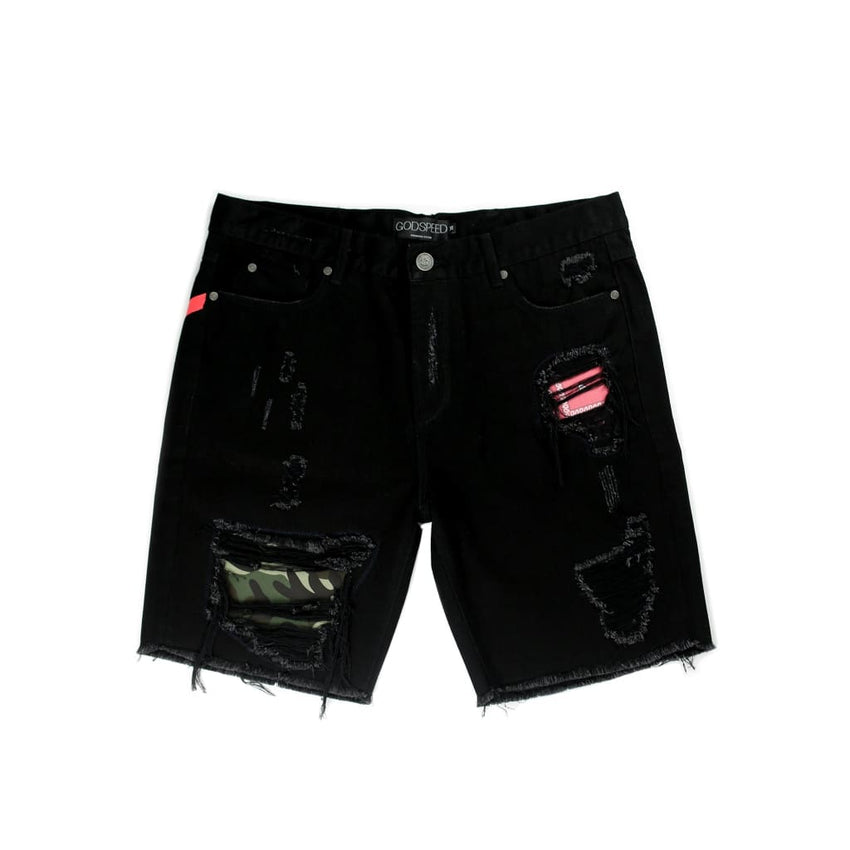 Skid R&r Denim Shorts (Black) - Shorts