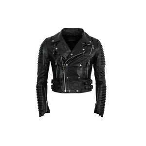 Women Moto Jacket ( Black ) LEATHER JACKET