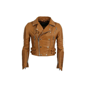 Women Moto Jacket ( Bronze ) LEATHER JACKET