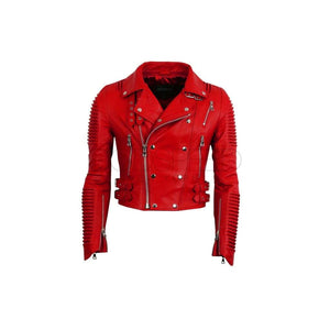 Women Moto Jacket ( Marinara Red ) LEATHER JACKET