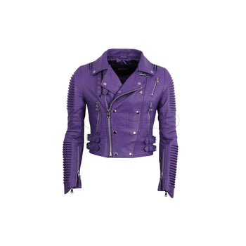 Women Moto Jacket ( Purple ) LEATHER JACKET
