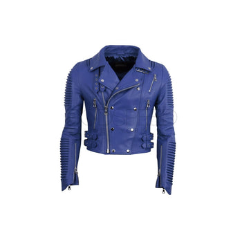Women Moto Jacket ( Royal Blue) - LEATHER JACKET