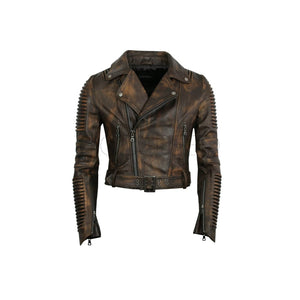 Women Moto Jacket ( Vintage Brown ) LEATHER JACKET