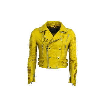 Women Moto Jacket ( Yellow ) LEATHER JACKET